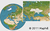 Shaded Relief Location Map of Ukraine, satellite outside