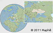 Shaded Relief Location Map of Ukraine, savanna style outside, hill shading