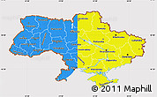 Flag Map of Ukraine, flag aligned to the middle