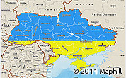 Flag Map of Ukraine, shaded relief outside