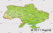 Physical Map of Ukraine, cropped outside
