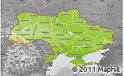 Physical Map of Ukraine, desaturated