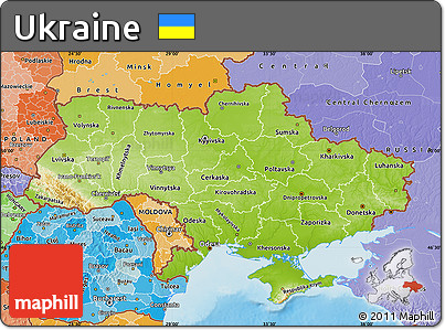 Free Physical Map Of Ukraine Political Shades Outside Shaded - Ukraine political map