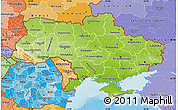 Physical Map of Ukraine, political shades outside, shaded relief sea