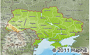 Physical Map of Ukraine, semi-desaturated, land only