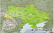 Physical Map of Ukraine, semi-desaturated