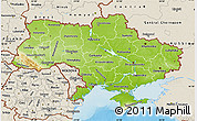 Physical Map of Ukraine, shaded relief outside