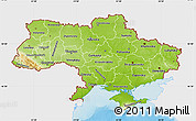 Physical Map of Ukraine, single color outside