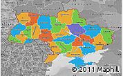 Political Map of Ukraine, desaturated