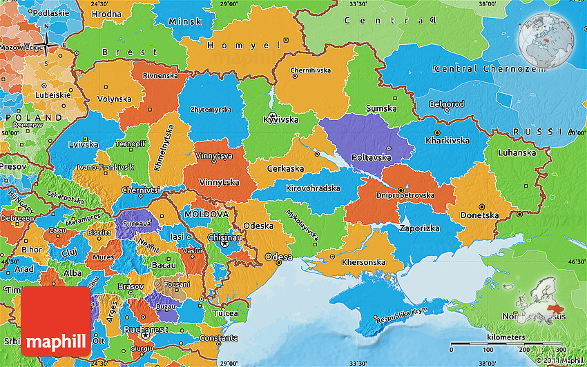 Ukraine political map