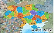Political Map of Ukraine, semi-desaturated, land only