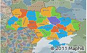Political Map of Ukraine, semi-desaturated