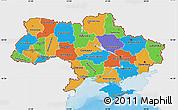 Political Map of Ukraine, single color outside