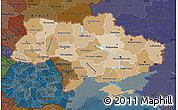 Political Shades Map of Ukraine, darken