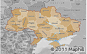 Political Shades Map of Ukraine, desaturated
