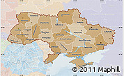 Political Shades Map of Ukraine, lighten
