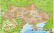 Political Shades Map of Ukraine, physical outside