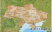 Political Shades Map of Ukraine, satellite outside, bathymetry sea