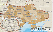 Political Shades Map of Ukraine, shaded relief outside, bathymetry sea