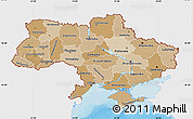 Political Shades Map of Ukraine, single color outside