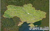 Satellite Map of Ukraine, darken