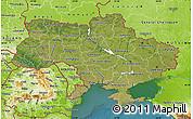 Satellite Map of Ukraine, physical outside, satellite sea