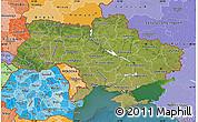 Satellite Map of Ukraine, political shades outside, satellite sea