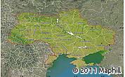 Satellite Map of Ukraine, semi-desaturated, land only