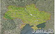 Satellite Map of Ukraine, semi-desaturated
