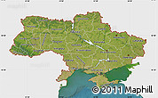 Satellite Map of Ukraine, single color outside