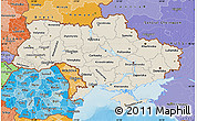 Shaded Relief Map of Ukraine, political shades outside, shaded relief sea