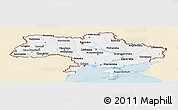 Classic Style Panoramic Map of Ukraine, single color outside