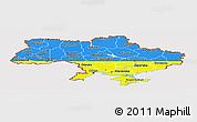Flag Panoramic Map of Ukraine, flag centered
