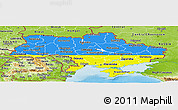 Flag Panoramic Map of Ukraine, physical outside