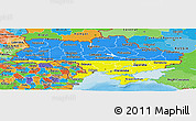 Flag Panoramic Map of Ukraine, political outside