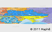 Flag Panoramic Map of Ukraine, political shades outside
