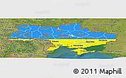 Flag Panoramic Map of Ukraine, satellite outside