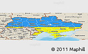 Flag Panoramic Map of Ukraine, shaded relief outside