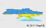 Flag Panoramic Map of Ukraine, single color outside, bathymetry sea