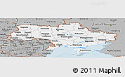 Gray Panoramic Map of Ukraine