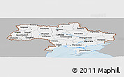 Gray Panoramic Map of Ukraine, single color outside