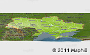 Physical Panoramic Map of Ukraine, darken