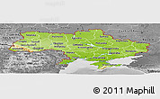 Physical Panoramic Map of Ukraine, desaturated