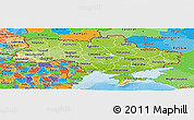 Physical Panoramic Map of Ukraine, political outside, shaded relief sea