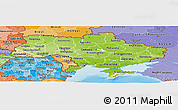 Physical Panoramic Map of Ukraine, political shades outside, shaded relief sea