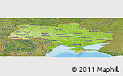 Physical Panoramic Map of Ukraine, satellite outside, shaded relief sea