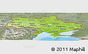 Physical Panoramic Map of Ukraine, semi-desaturated, land only