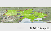 Physical Panoramic Map of Ukraine, semi-desaturated