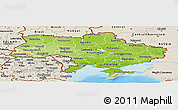 Physical Panoramic Map of Ukraine, shaded relief outside