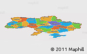 Political Panoramic Map of Ukraine, cropped outside